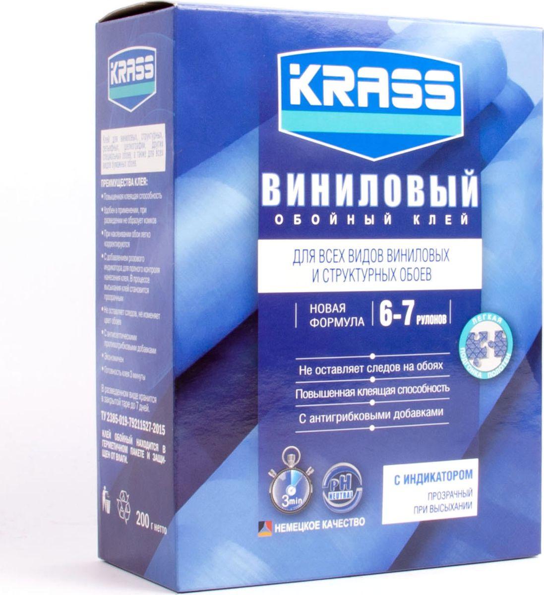 Клей Krass Виниловый, для обоев, 4680002595542, 200 г клей для виниловых обоев kleo smart 5 6 рулонов 150 г