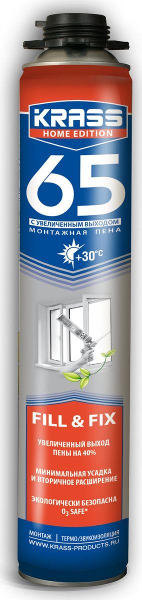 Фото - Монтажная пена Krass Home Edition 65, пистолетная, 4814016002394, 0.84 л материалы для стен и потолка