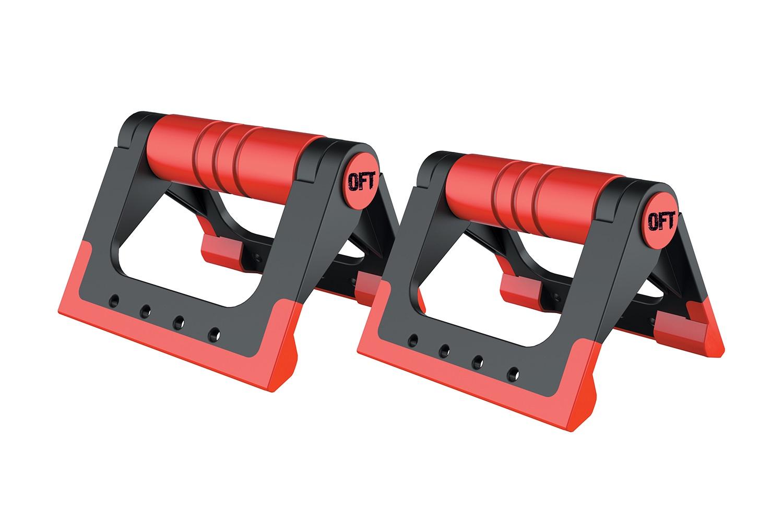 Упоры для отжиманий Original FitTools, FT-PUB-RD, черный, красный цена