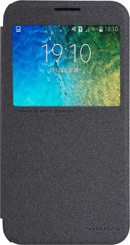 Чехол Nillkin Sparkle для Samsung Galaxy E5, 6956473227908, черный mooncase samsung galaxy e5 e500 чехол кожи нефти кожа флип карты бумажник слот кронштейн обложка чехол сапфир