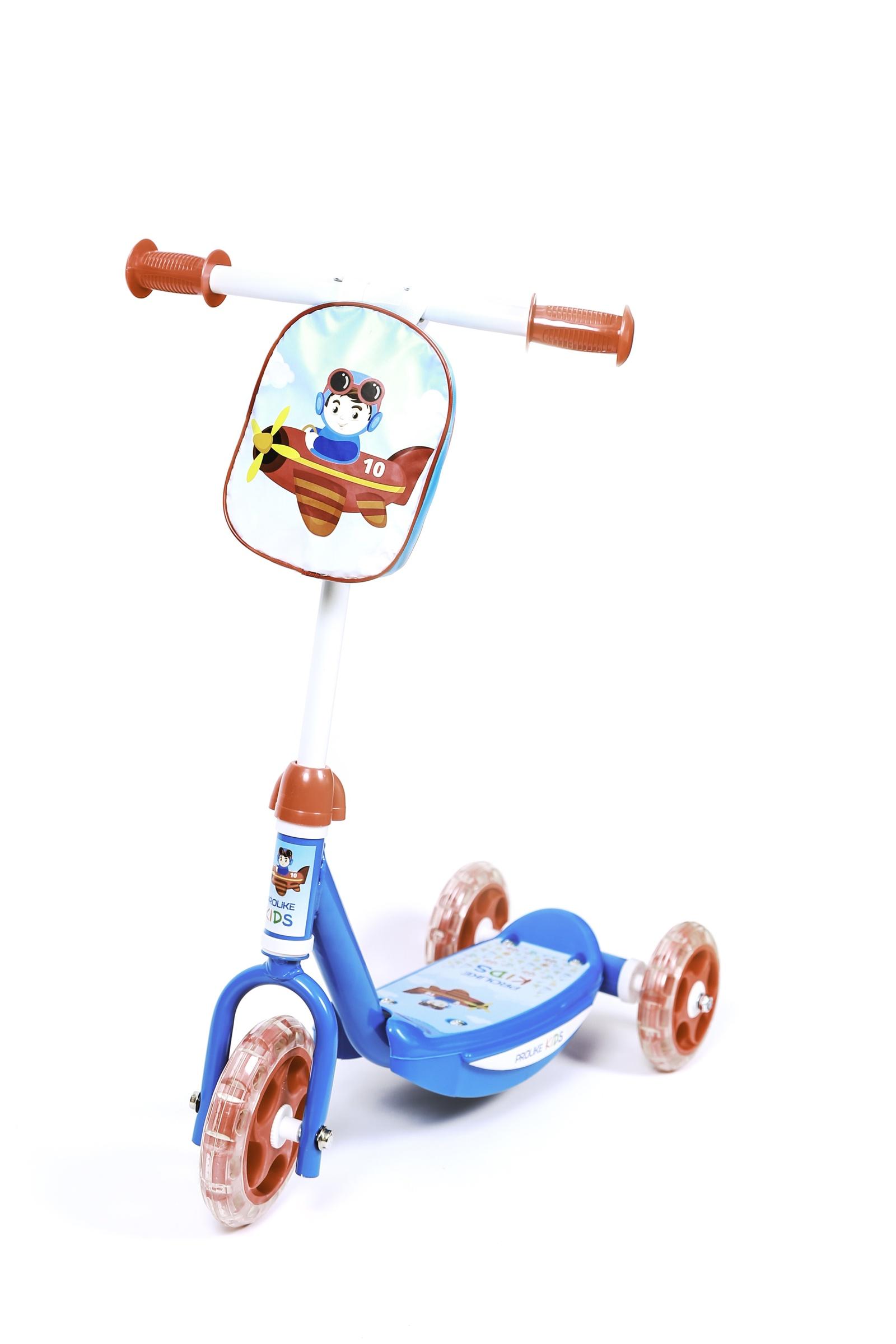 Самокат Prolike детский трехколесный Пилот, синий самокат для 2 лет