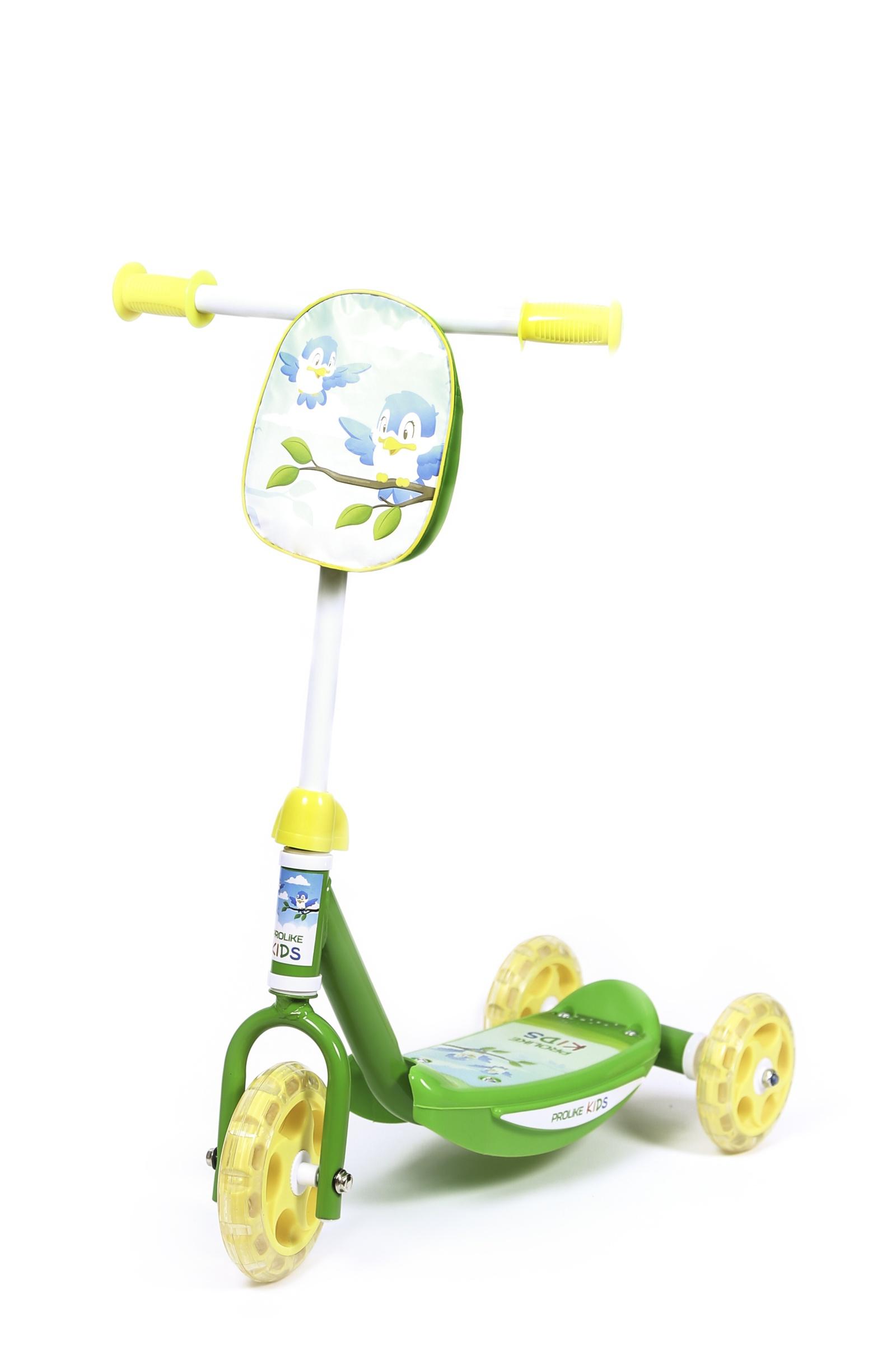 Самокат Prolike Самокат детский трехколесный Птички, зеленый самокат для 2 лет