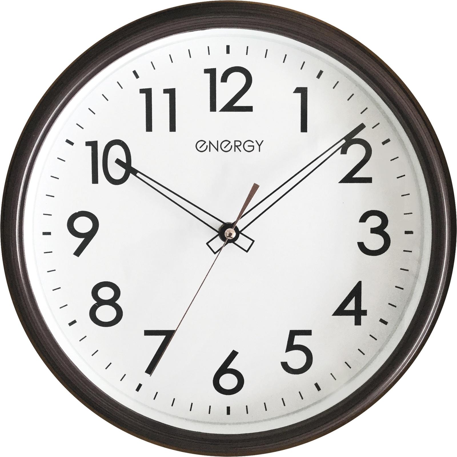 Часы настенные Energy ЕС-115, 54 009489, белый, коричневый цена