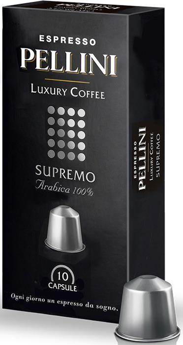 Кофе капсульный Pellini Nespresso Supremo, 10 шт кофе капсульный pellini nespresso magnifico 10 шт