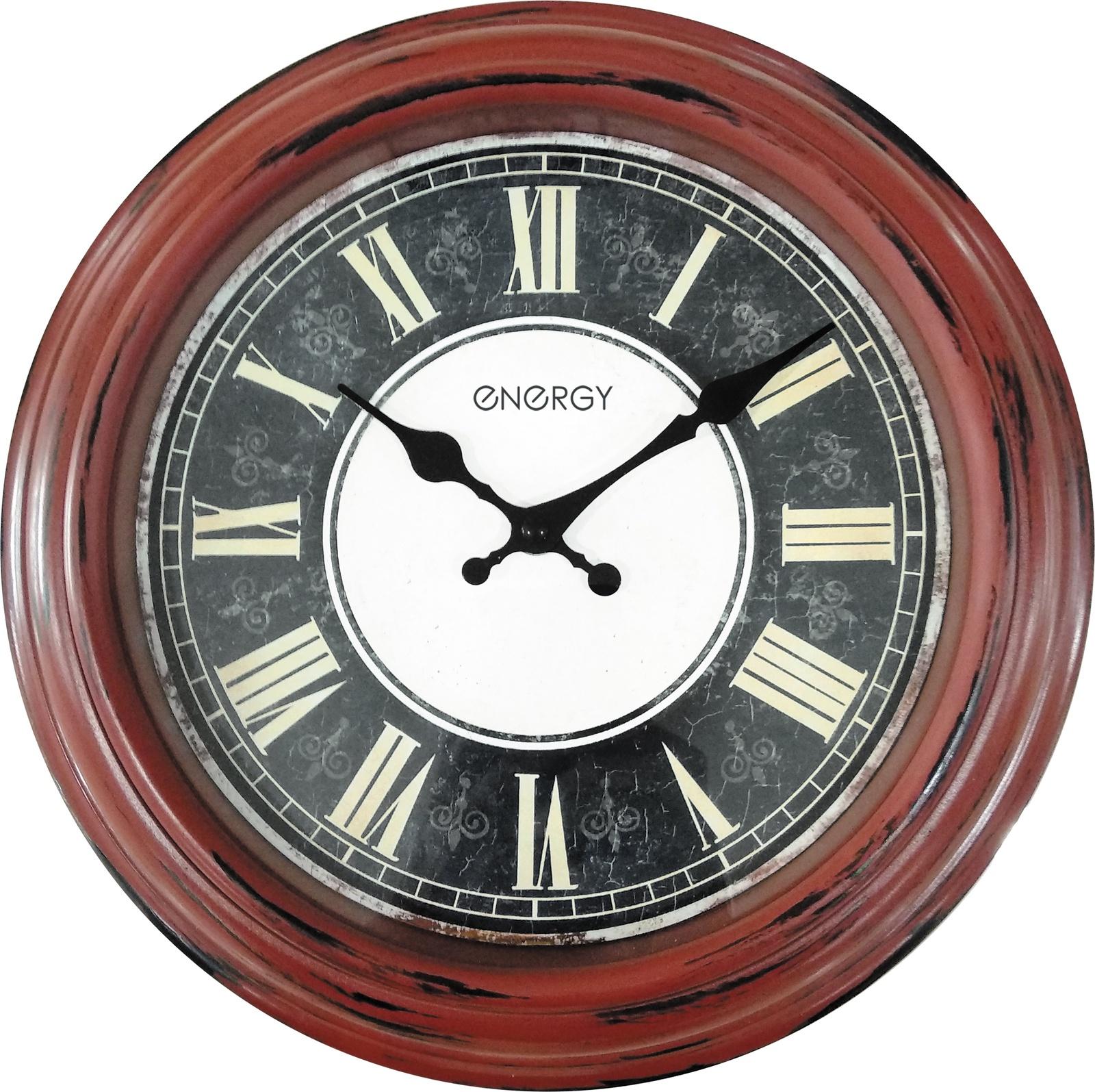 Часы настенные Energy ЕС-119, 54 009493, коричневый, черный цена