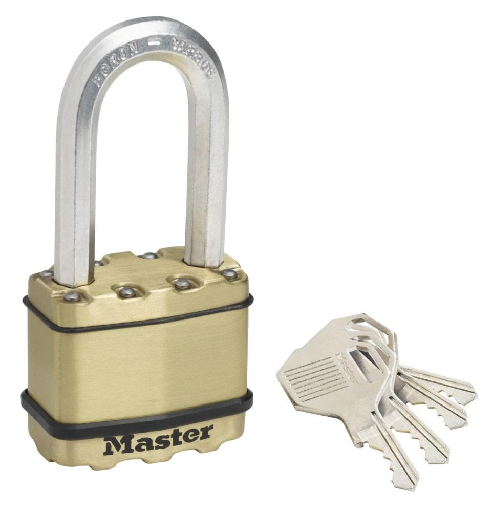 Замок MasterLock Навесной EXCELL™ A9/B51/C24/W50 сталь+латунь/8-бор-ст 2 4п 4к, M5BEURDLH замок masterlock навесной excell™ a10 b51 c20 w54 ст 8 бор ст 2 4п 4к m830eurdlh
