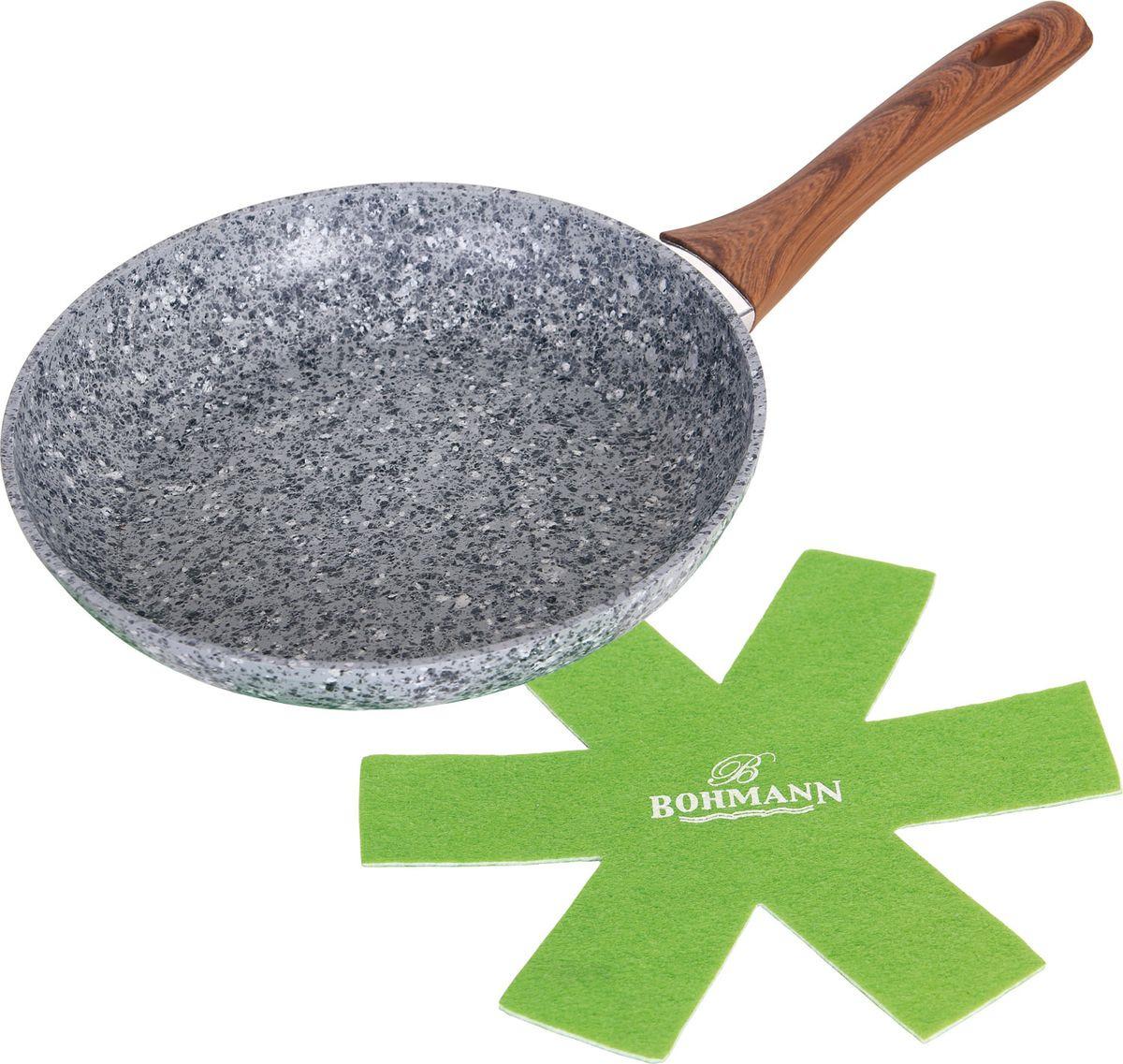 Сковорода Bohmann, с подставкой, цвет: серый. Диаметр 22 см. 1015-22BHGRN сковорода bohmann 372124вн серый диаметр 24 см