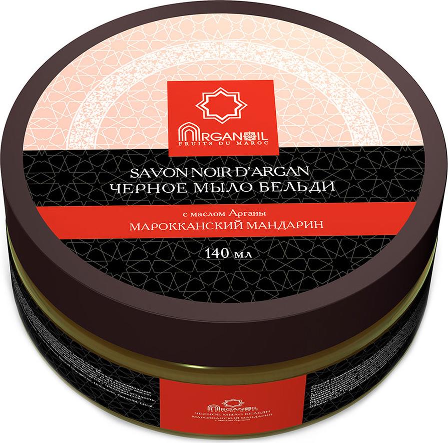 Черное мыло марокканское Дом Арганы Arganoil Fruits du Maroc Марокканский мандарин, c маслом арганы, 140 мл масло арганы по уходу за кожей и для массажа амбра мускус arganoil дом арганы 500 мл