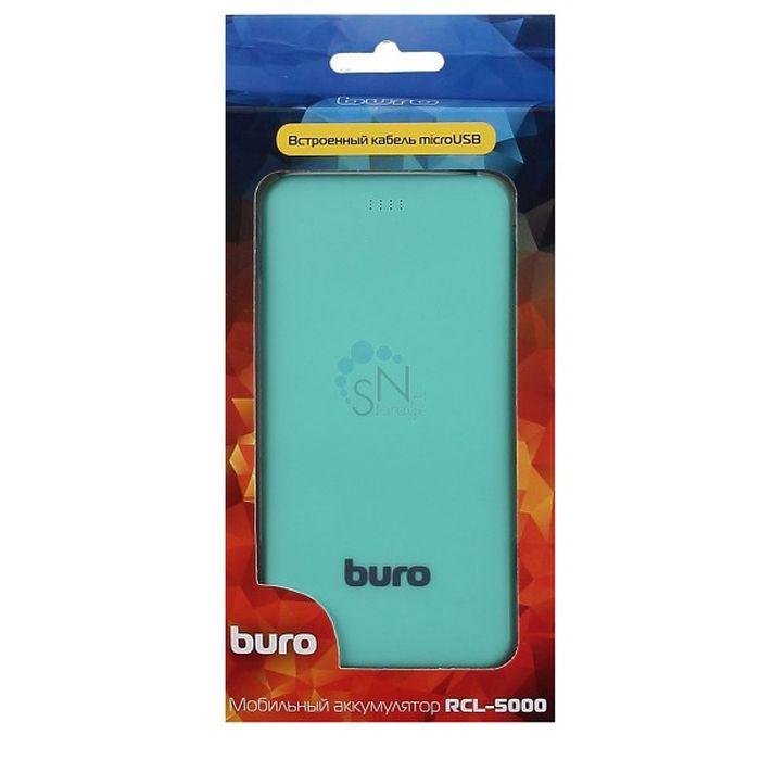 Мобильный аккумулятор Buro RCL-5000-GW Li-Pol 5000mAh 1A 1xUSB, цвет: зеленый, белый мобильный аккумулятор buro rcl 8000 wg li pol 8000mah 2 1a белый серый 2xusb