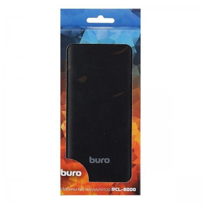Мобильный аккумулятор Buro RCL-8000-BK, Li-Pol 8000mAh 2.1A, 2xUSB, цвет: черный аккумулятор red line t8 8000mah blue