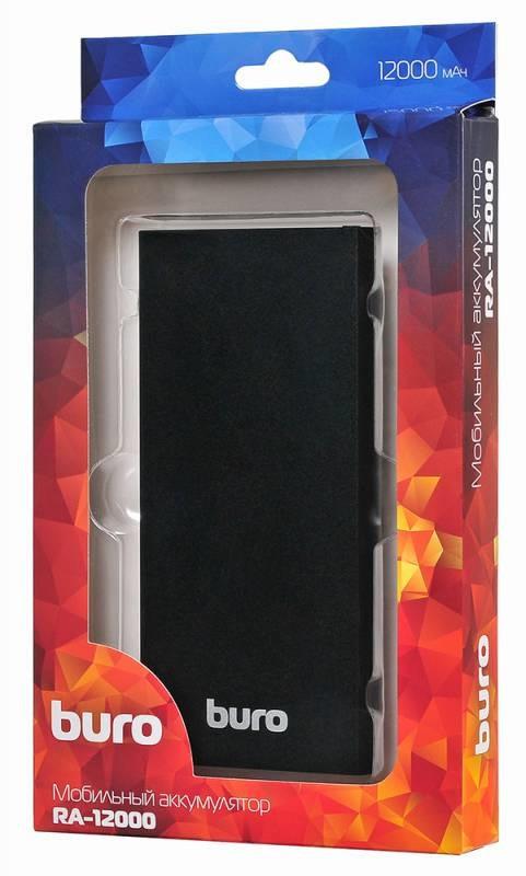 Мобильный аккумулятор Buro RA-12000-AL-BK Li-Pol 12000mAh 2.1A+1A черный 2xUSB мобильный аккумулятор buro rcl 8000 wg li pol 8000mah 2 1a белый серый 2xusb
