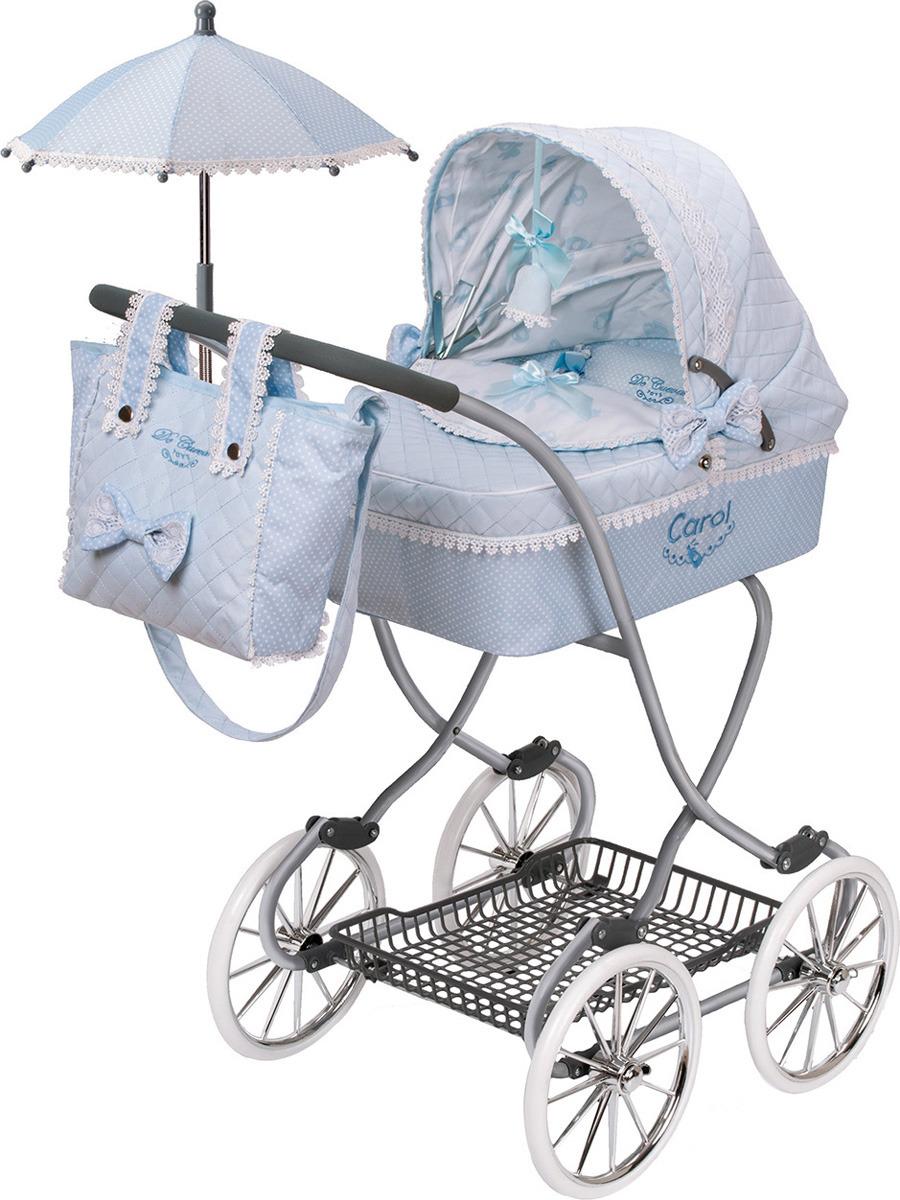 Коляска DeCuevas Кэрол, 80222, с сумкой и зонтиком, голубой, белый, 90 см decuevas коляска для куклы романтик с сумкой и зонтом цвет розовый 65 см