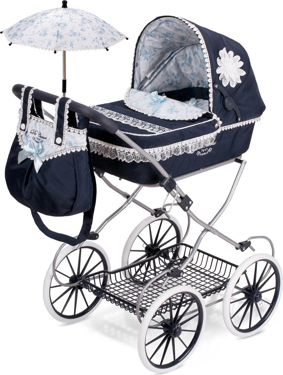 Коляска DeCuevas Романтик, 81025, с сумкой и зонтиком, синий, голубой, белый, 81 см decuevas коляска для куклы романтик с сумкой и зонтом цвет розовый 65 см