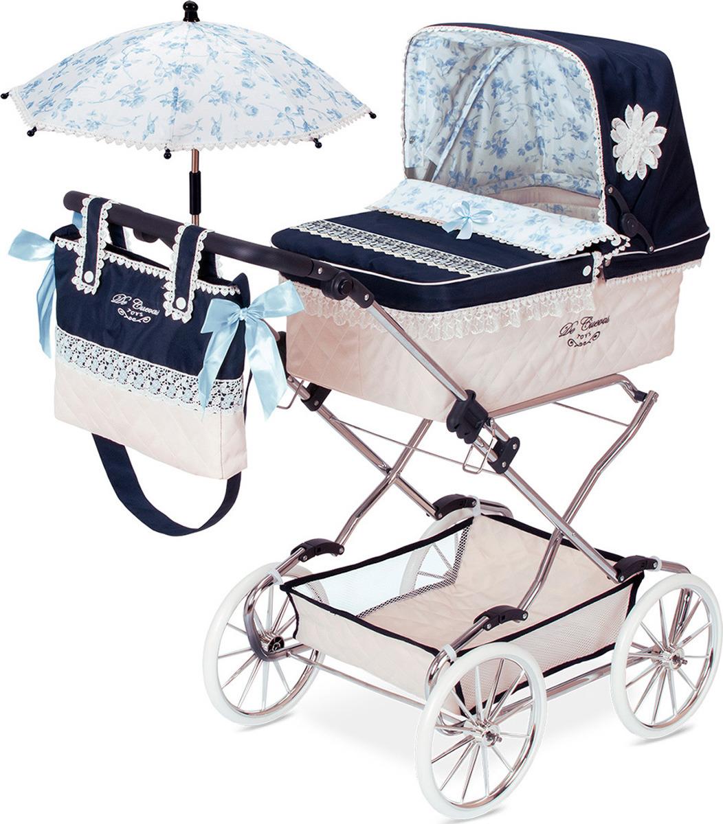 Коляска DeCuevas Романтик, 82025, с сумкой и зонтиком, синий, голубой, белый, 90 см decuevas коляска для куклы романтик с сумкой и зонтом цвет розовый 65 см