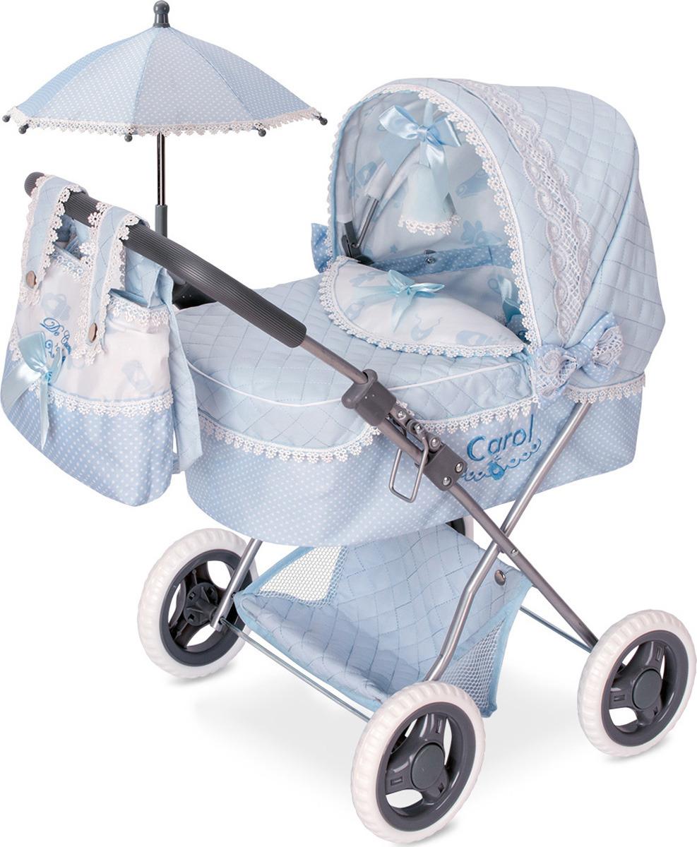 Коляска DeCuevas Кэрол, 85022, с сумкой и зонтиком, голубой, белый, 60 см decuevas коляска для куклы романтик с сумкой и зонтом цвет розовый 65 см
