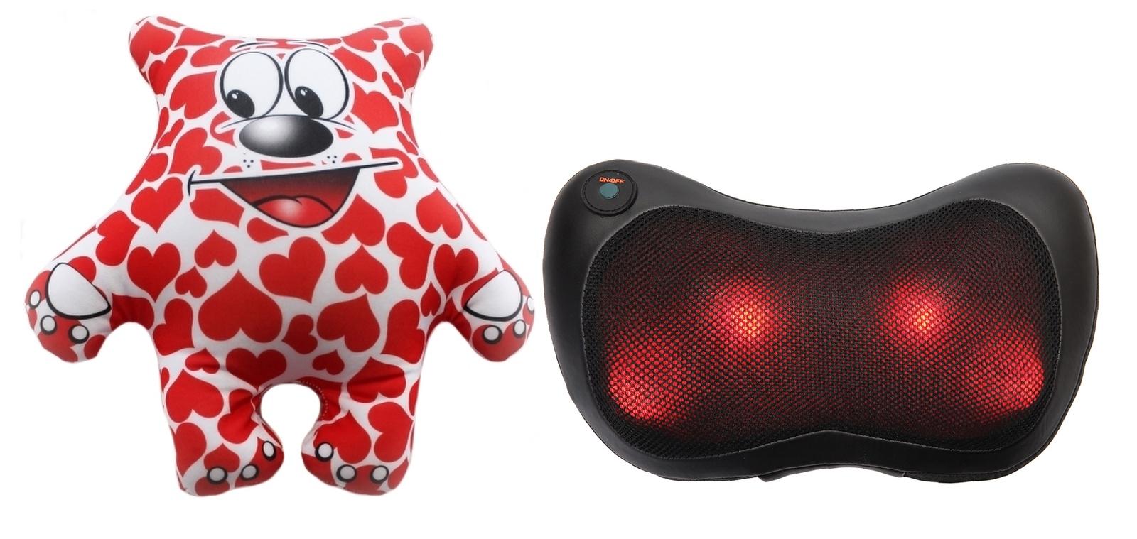 Игрушка антистресс PROFFI подушка детская Мишка inLove + подушка-массажёр Relax с подогревом красный, черный, белый