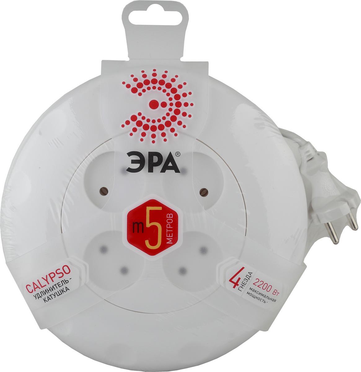 Удлинитель ЭРА без заземления, 4 розетки, U-1-3m, белый, 5 м удлинитель эра u 3 3m белый