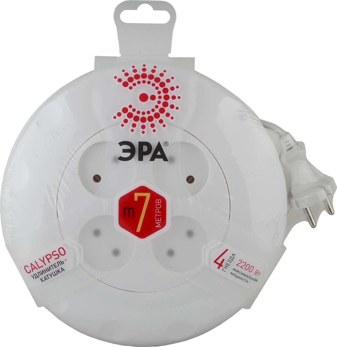 Удлинитель ЭРА без заземления, 4 розетки, UR-4-7m-W, белый, 7 м