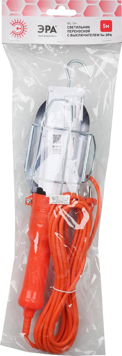 Светильник переносной ЭРА с выключателем, WL-5m, 5 м rexant переносной светильник 10м 1189
