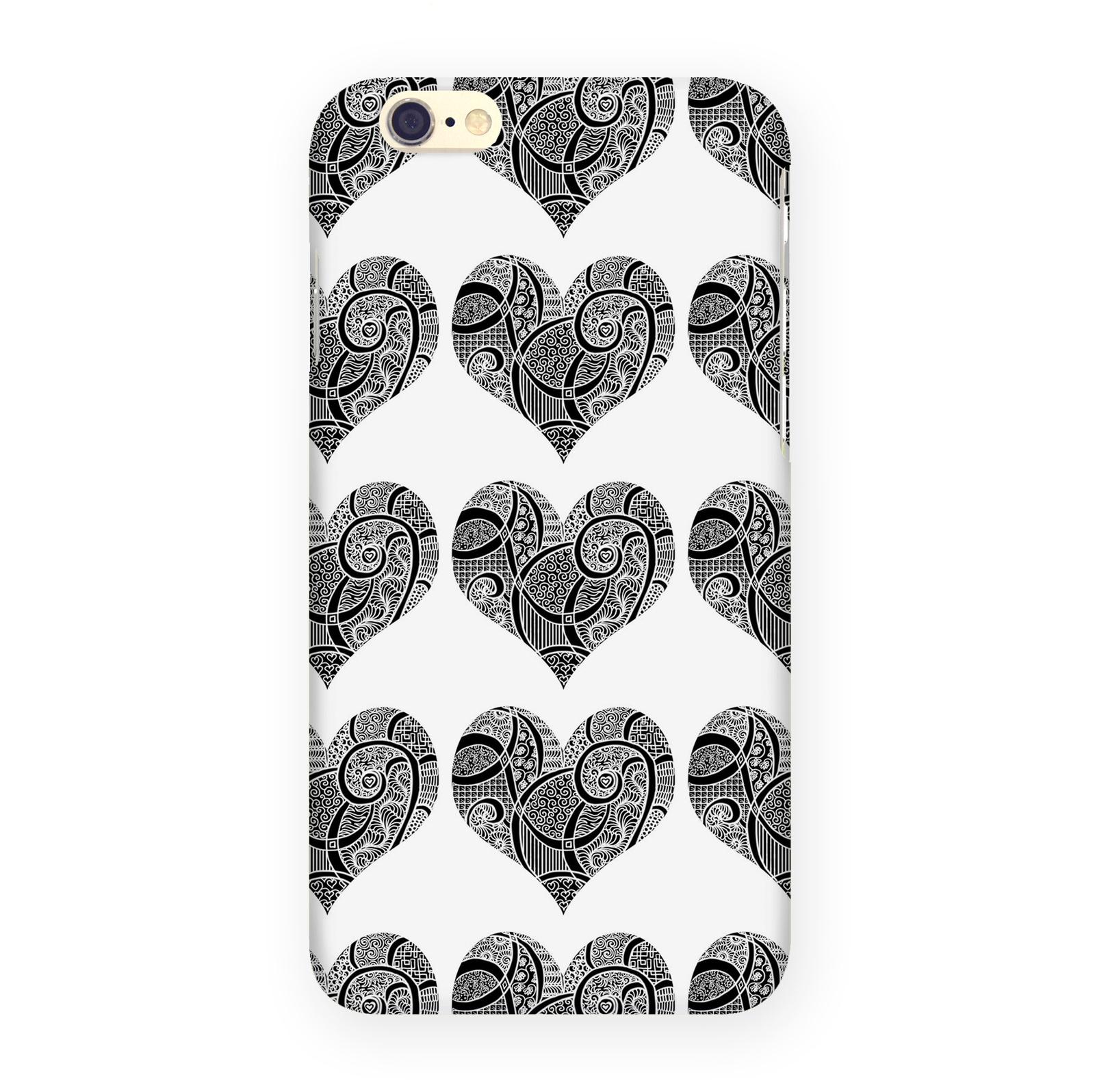 Чехол Mitya Veselkov Зентангл-сердца для iPhone 6, IP6.MITYA-323, белый, черный чехол для iphone 6 mitya veselkov жостовский узор 1