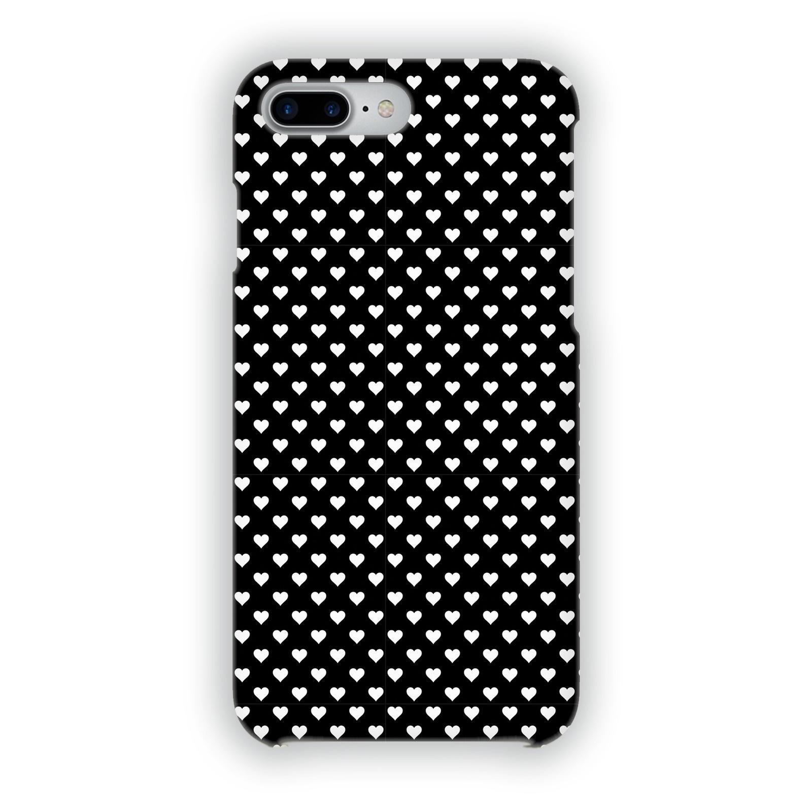 "Чехол Mitya Veselkov ""Белые сердечки на черном"" для iPhone 7 Plus/8 Plus, IP7PLUS.MITYA-031, черный, белый"