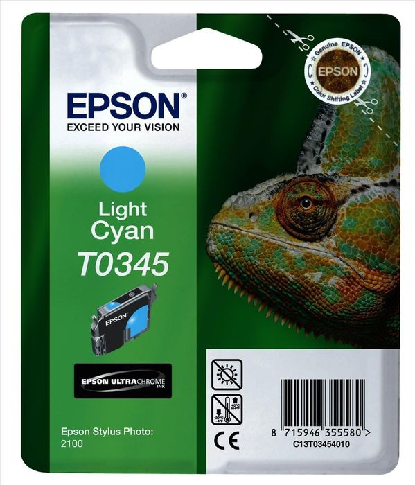 Картридж струйный Epson T0345 C13T03454010 для Epson Stylus Photo 2100, Light Cyan картридж original epson [t034340] для epson stylus photo 2100 magenta