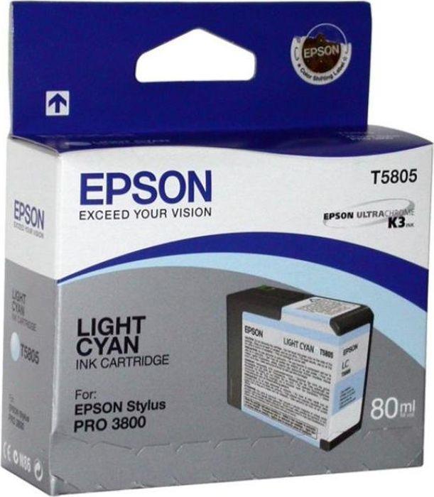 Картридж Epson T5805 (C13T580500), светло-голубой картридж epson t5805 c13t580500 светло голубой