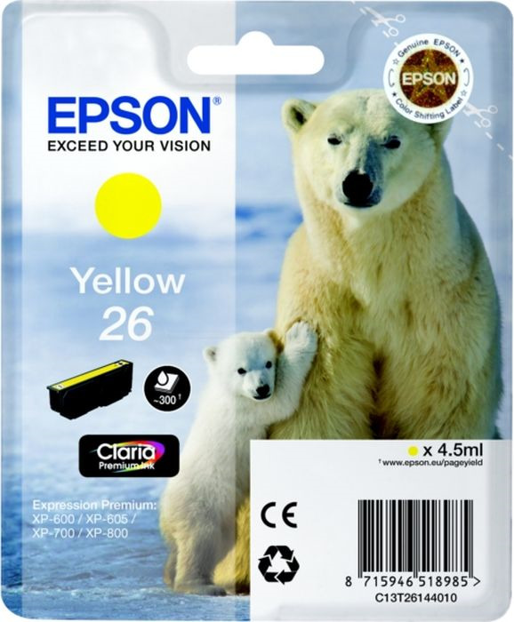 Картридж струйный Epson T2614 C13T26144012 для Epson XP-600/700/800, Yellow цена