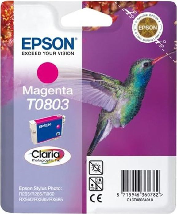 Картридж Epson струйный T0803 C13T0803401 для Epson Stylus Photo P50/PX660, Magenta картридж original epson [t034340] для epson stylus photo 2100 magenta