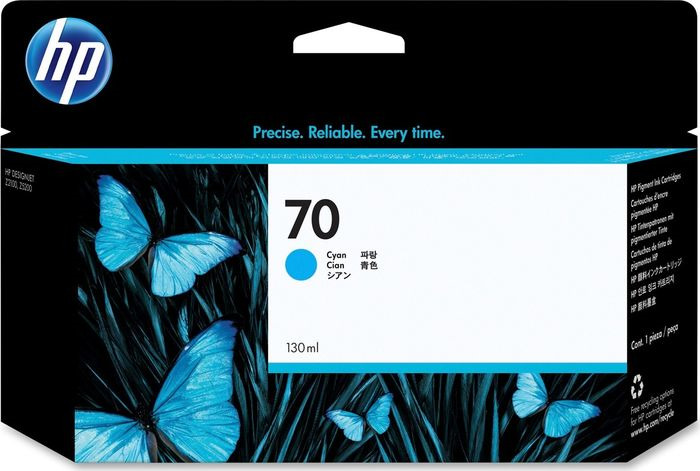 Картридж HP 70, голубой, для струйного принтера, оригинал картридж для струйных аппаратов hp 971xl cn626ae голубой cn626ae