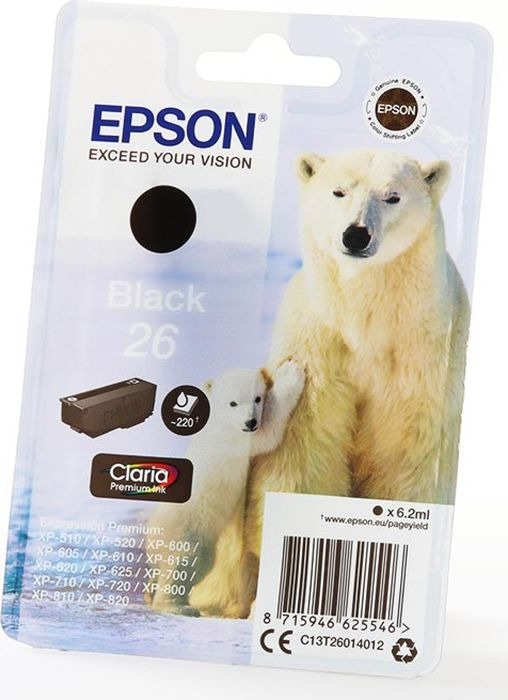 Картридж струйный Epson T2601 C13T26014012 для Epson XP-600/700/800, Black чернильный картридж epson t0922