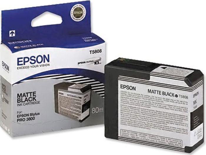 Картридж Epson T5808, матовый черный, для струйного принтера, оригинал цена