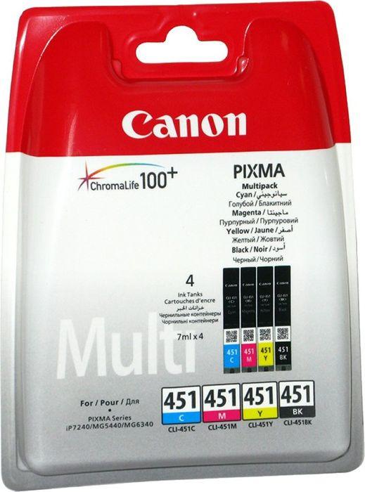 Картридж Canon CLI-451C/M/Y/Bk, разноцветный, для струйного принтера, оригинал все цены