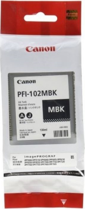 Картридж Canon PFI-102MBK, матовый черный, для струйного принтера, оригинал canon pfi 702pgy 2222b005