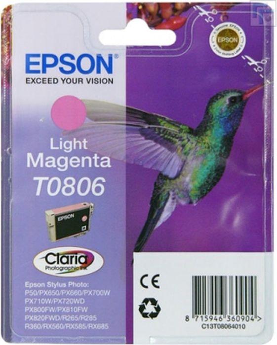 Картридж Epson T0806, светло-пурпурный, для струйного принтера картридж epson original т034540 светло синий для stylus photo 2100