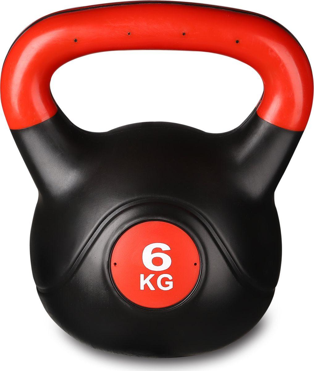 Гиря Indigo IN041, 00027649, черный, красный, 6 кг гиря цельная атлант 32 кг хром сталь