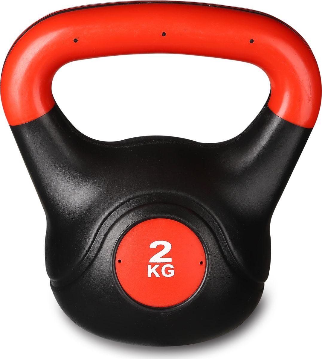 Гиря Indigo IN041, 00027647, черный, красный, 2 кг утяжелитель спортивный indigo неопреновые цвет красный 0 2 кг 2 шт