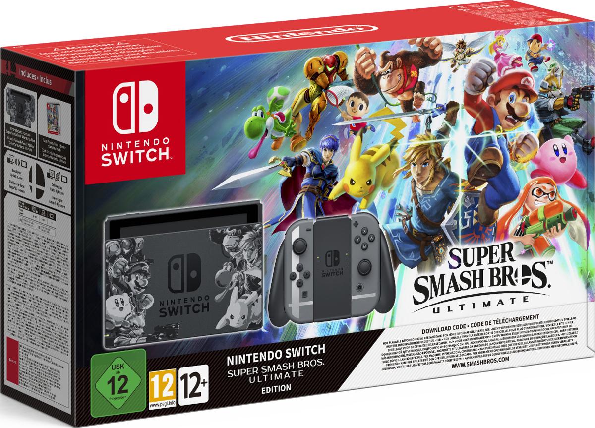 Игровая приставка Nintendo Switch + игра Super Smash Bros. Ultimate игровая приставка new nintendo 2ds xl black turquoise super mario 3d land