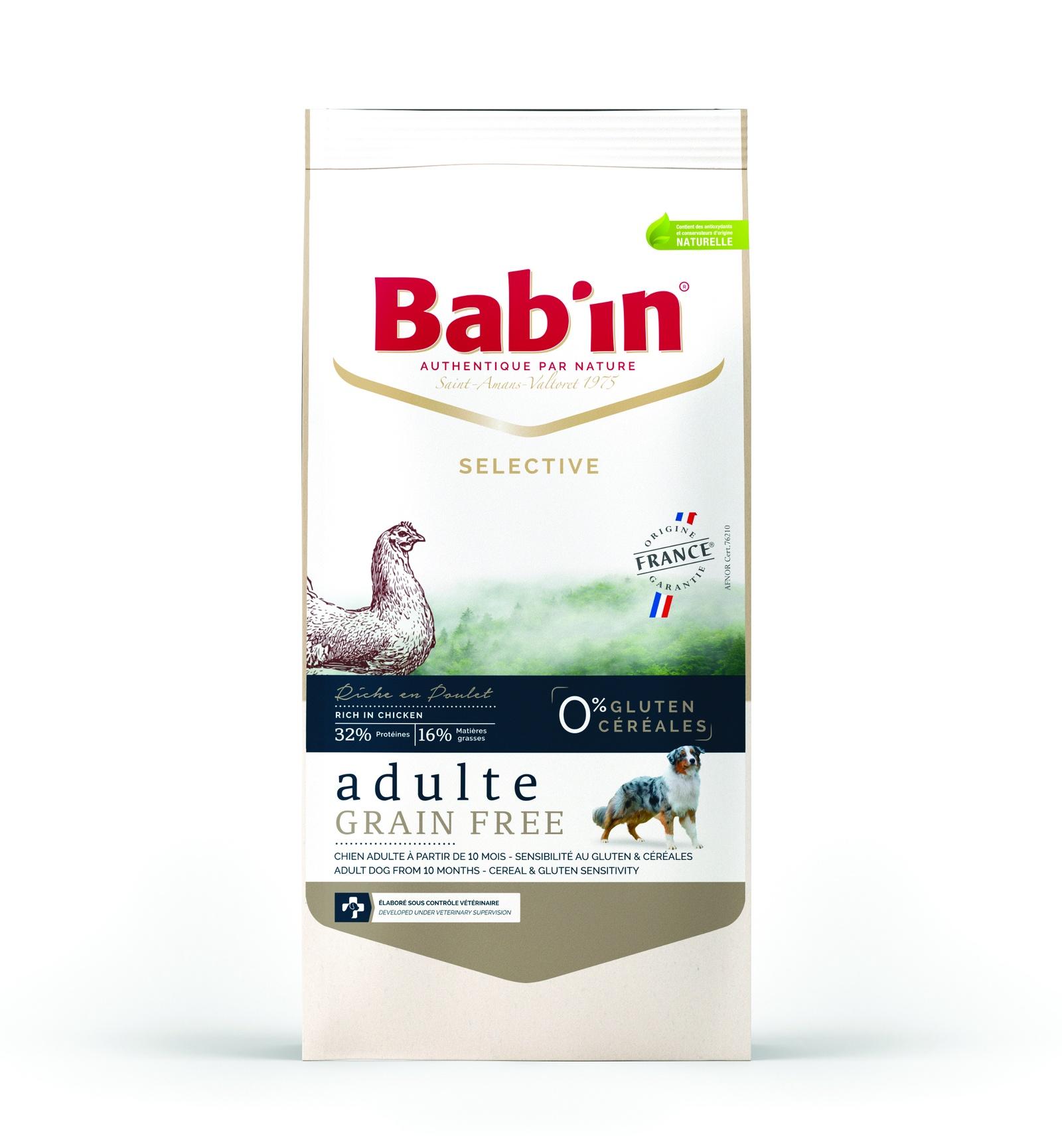Сухой корм Bab'in Selective Adulte Grain Free Poulet для взрослых собак всех пород без глютена и злаков, 3 кг