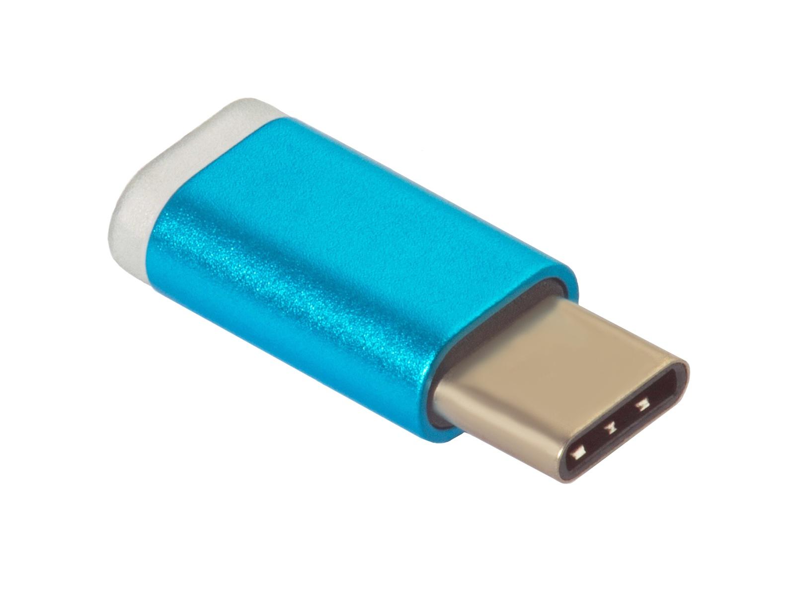 Адаптер-переходник Greenconnect, GCR-UC3U2MF-BL,Type C на micro USB 2.0, M/F, голубой цена и фото