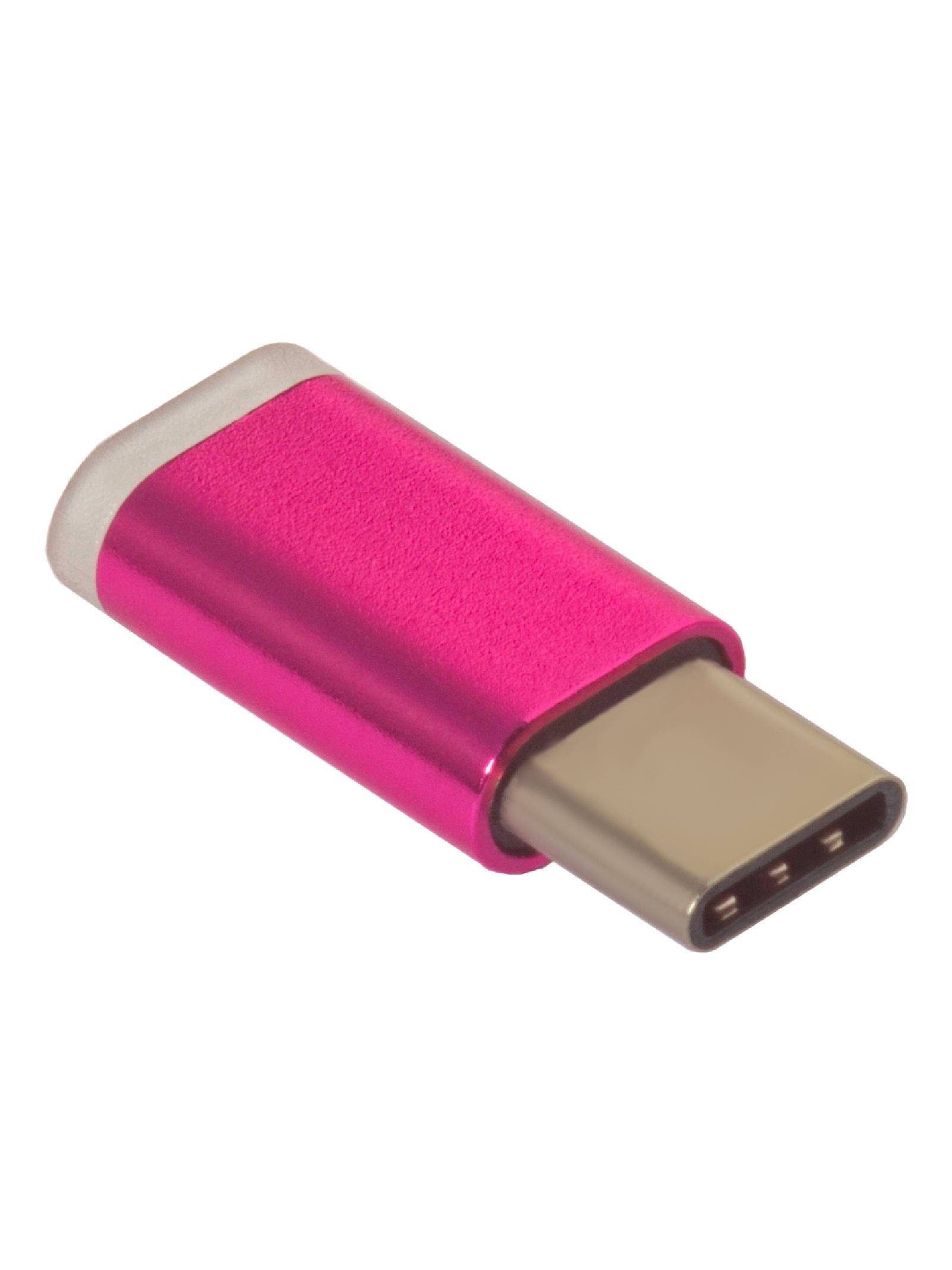 Адаптер-переходник Greenconnect, GCR-UC3U2MF-R, Type C на micro USB 2.0, M/F, розовый цена и фото