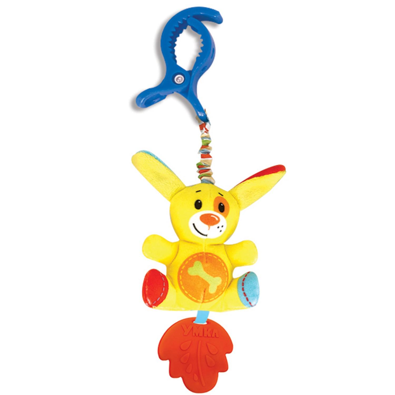Развивающая игрушка Умка Собачка, с клипсой, 259036259036Подвеска с клипсой Собачка - это отличная развивающая игрушка ТМ УМка для самых маленьких. Она выполнена в ярких цветах из очень мягкого и гипоаллергенного материала. Такая подвеска будет сопровождать малыша повсюду, т. к. у неё есть специальная клипса. Игрушку можно повесить на кроватку, коляску, прикрепить в любом другом месте. Сочетание текстильных и пластиковых элементов позволит развивать тактильные навыки. Улучшает мелкую моторику, визуальное восприятие. Рекомендуется с 0 месяцев.