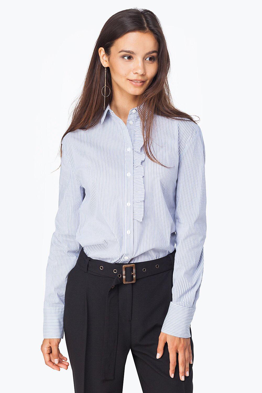 Блузка VILATTE D29.598-голубой-белый-48 голубой-белый, 48 размерD29.598-голубой-белый-48Блузка выполнена из эластичного хлопкового полотна с добавлением нейлона для лучшей формоустойчивости и несминаемости. Классический рубашечный крой с отложным воротником, рукава с широкими манжетами. Планка на пуговицах дополнена декоративной оборкой.