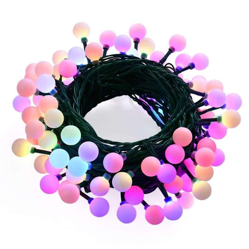 Гирлянда APEYRON electrics Уличная электрическая гирлянда светодиодная, 10м, 8 режимов, 50 ламп, Ø2,5мм, черный шнур, мульти цвет., 15-35
