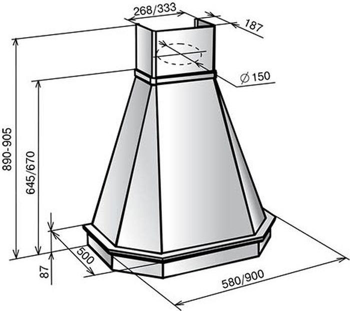 Встраиваемая вытяжка Elikor Камин Грань 60П-650-П3Л, бежевый Elikor