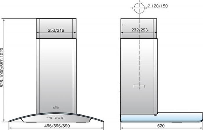Встраиваемая вытяжка Elikor Аметист 60Н-430-К3Д, серебристый Elikor