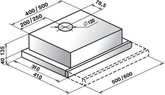 Встраиваемая вытяжка Elikor Интегра 50П-400-В2Л, черный нержав.  Elikor