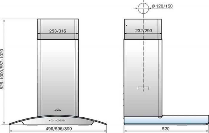 Встраиваемая вытяжка Elikor Аметист 60П-430-К3Д, черный Elikor