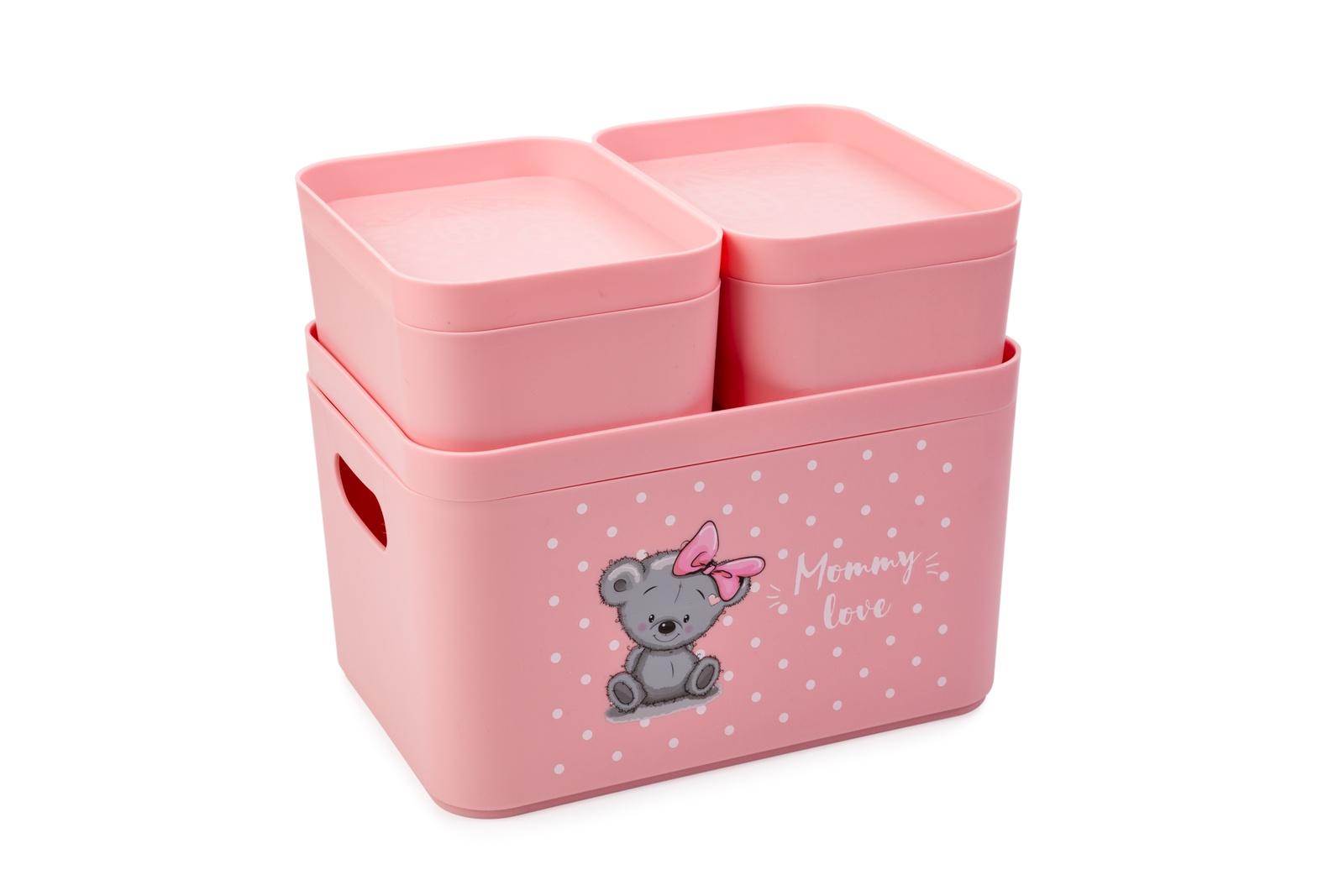 Ящик для игрушек Berossi Набор органайзеров Mommy Love (нежно-розовый), розовый