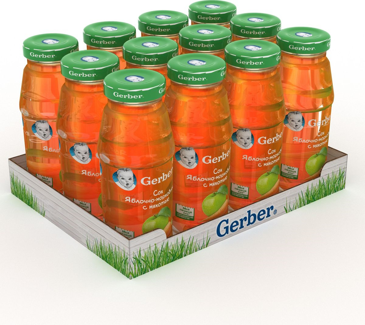 Сок Яблочно-морковный Gerber, 12 шт по 175 мл